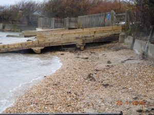 Slipway being washed away